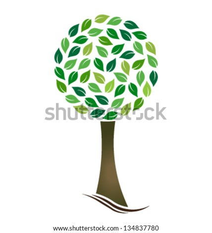 Tree with circled leaves - stock vector