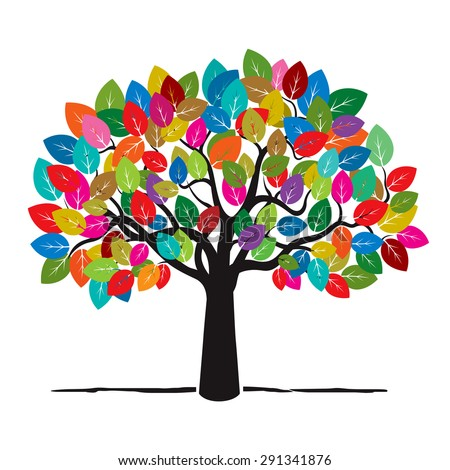 Tree Color Leafs Vector Illustration Stock Vector ...