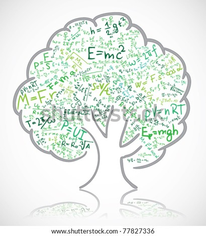 Tree with colored equations and formula - stock vector