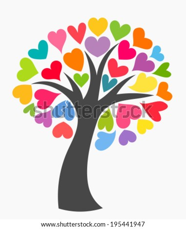 Tree with colorful leaf hearts. Vector illustration