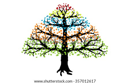 Tree with colorful leaves isolated on a white background. EPS 10.