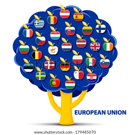 tree with european union flags apples - stock vector