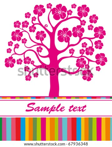 tree with flowers - stock vector