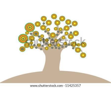 tree with flowers - illustration - stock vector