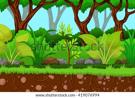 tree with forest landscape background - stock vector