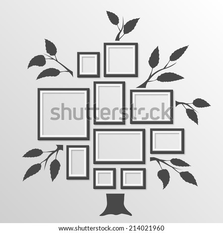 Tree with frames. Vector illustration - stock vector