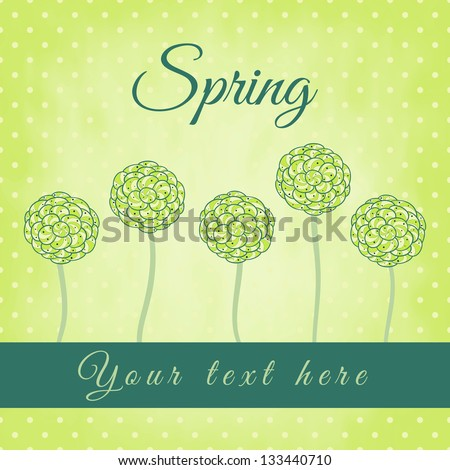 Tree with green spiral leaves, spring theme, vector illustration, design for card,  packaging, invitations, decoration, bag.