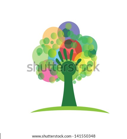 Tree with hand and colored bunches bubbles illustration vector - stock vector