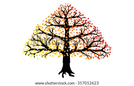 Tree with leaves isolated on a white background. EPS 10.