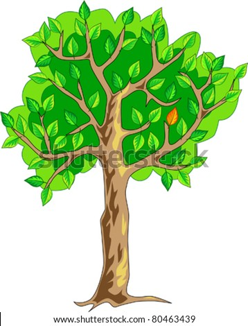 tree with many green leaves and only one red leaf - stock vector