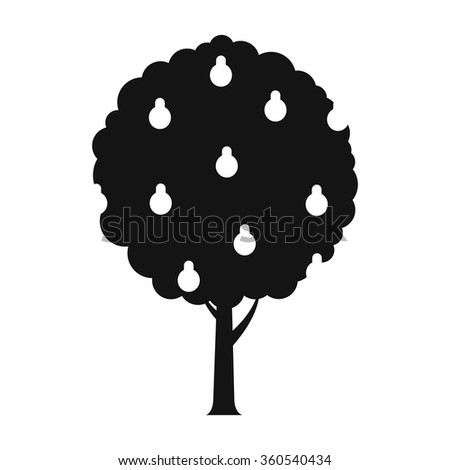 Tree with pears black simple icon - stock vector