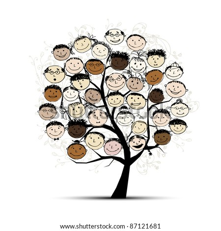 Tree with people faces for your design - stock vector
