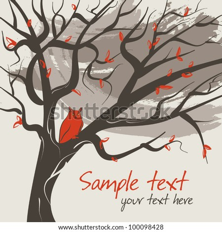 Tree with red owl - stock vector