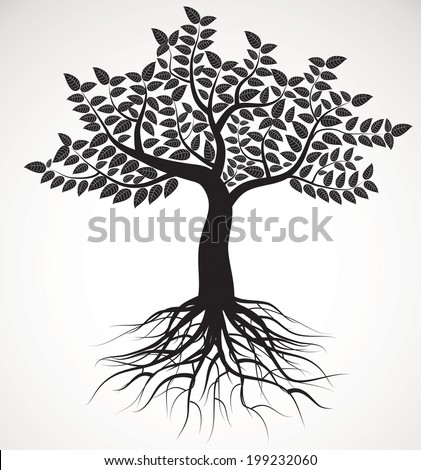 tree with roots and foliage, vector image - stock vector