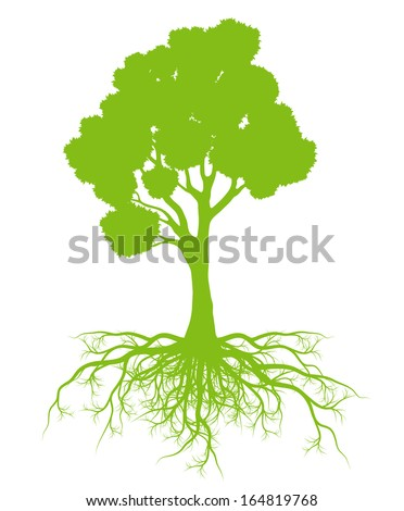 Tree with roots background ecology vector concept card - stock vector