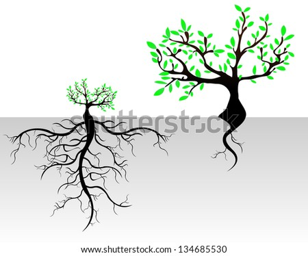 Tree with Roots Background, vector - stock vector