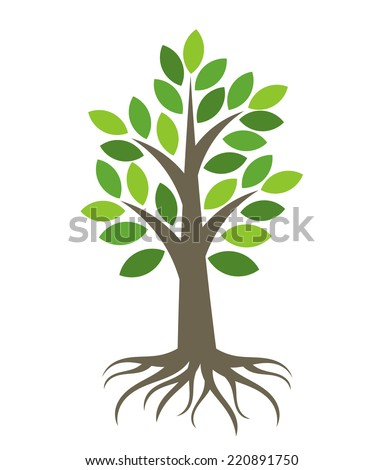Tree with roots icon. Vector illustration - stock vector