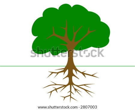 Tree with roots in vector format. Will size anywhere to any pixels without losing quality - stock vector