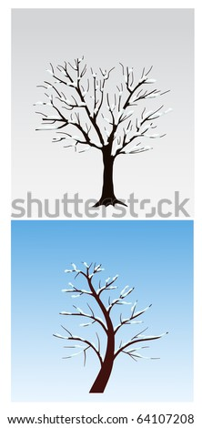 tree with snow - stock vector