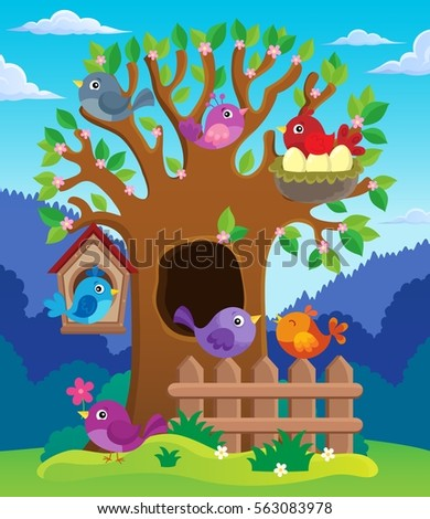 Tree with stylized birds theme image 2 - eps10 vector illustration.