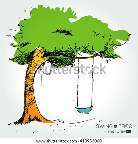 tree with swing hand draw from imagination,Vector illustration - stock vector
