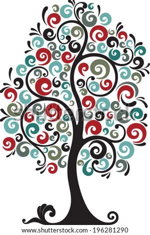 Tree with swirls. - stock vector
