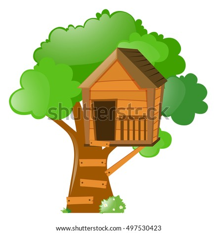 tree treehouse on illustration stock vector 497530423 shutterstock rh shutterstock com tree house clipart png tree house clipart free
