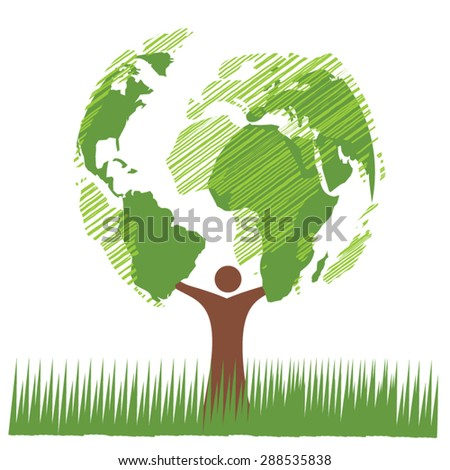 Tree with world map concept vector - stock vector