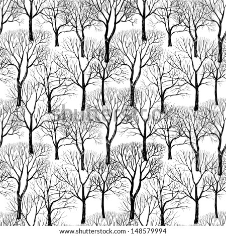 Tree without leaves isolated on white background. Branches isolated on white seamless pattern. Plant seamless texture. Forest seamless background. Hand drawn vector illustration.  - stock vector
