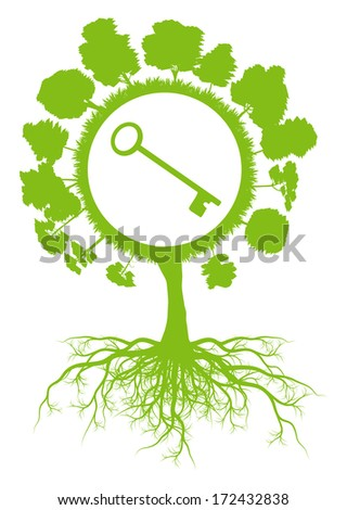 Tree world globe ecology vector background concept with roots and key - stock vector