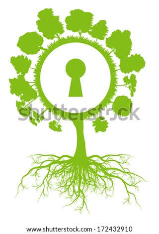 Tree world globe ecology vector background concept with roots and keyhole - stock vector