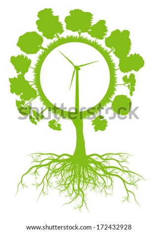 Tree world globe ecology vector background concept with roots and wind generator - stock vector