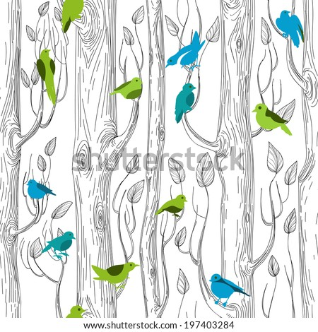 Trees and birds seamless pattern - stock vector