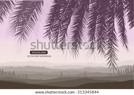 Trees and branches silhouette in aqua. Detailed vector illustration. Forest banner. palm leaf silhouette.twilight scene. - stock vector