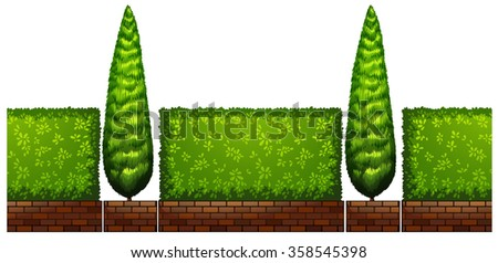 Trees and bush along the road illustration - stock vector