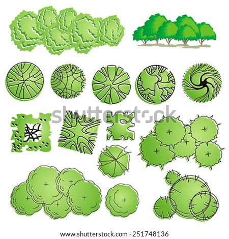 Trees bush item top view landscape stock vector 251748136 for Landscape design icons