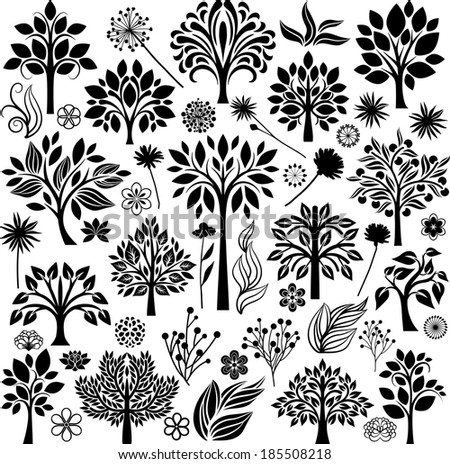 Trees and flowers - stock vector