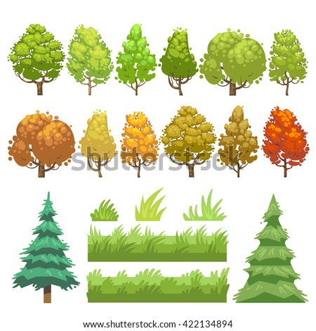 Trees and grass flat vector icons set. Green plant tree and nature grass, element for wood forest grass and tree illustration - stock vector