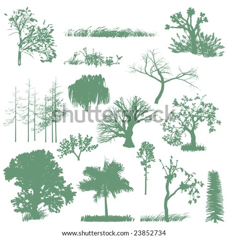 trees and grass silhouettes - stock vector