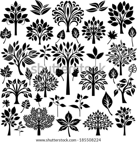 Trees and leaves - stock vector
