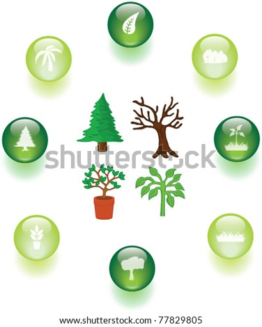 trees and plants illustrations and buttons set - stock vector