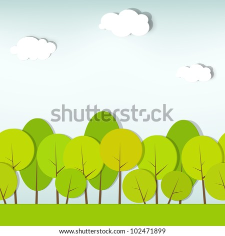 trees and shrubs. seamless vector paper cut image