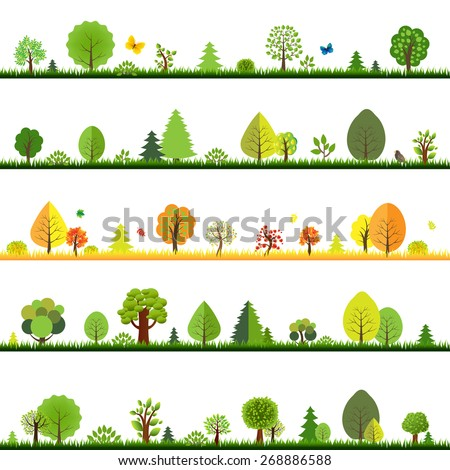 Trees Borders With Gradient Mesh, Vector Illustration - stock vector