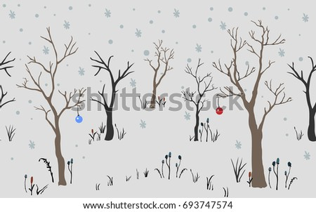 Trees. First Snow. Winter Christmas landscape background with trees, snow, snowflakes toys. Hand Drawn Design. Vector Illustration. Holiday Card. For cards, backgrounds, wallpaper, wrapping, etc.