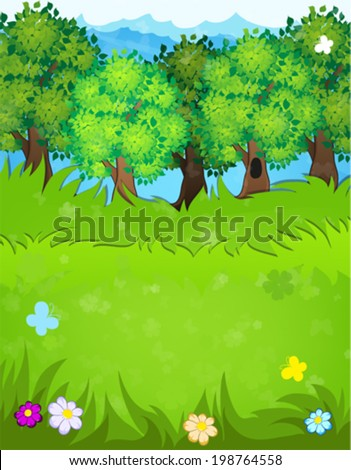 Trees, flowers and butterflies in the meadow. Summer landscape nature. - stock vector