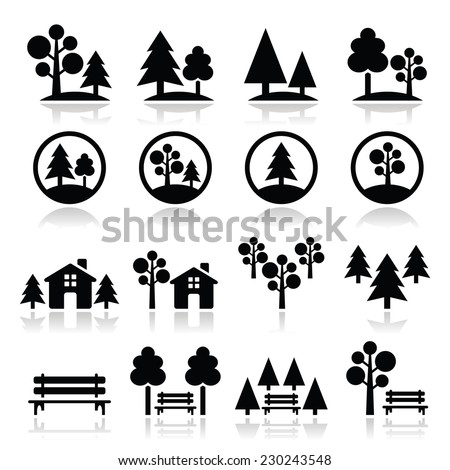 Trees, forest, park vector icons set  - stock vector