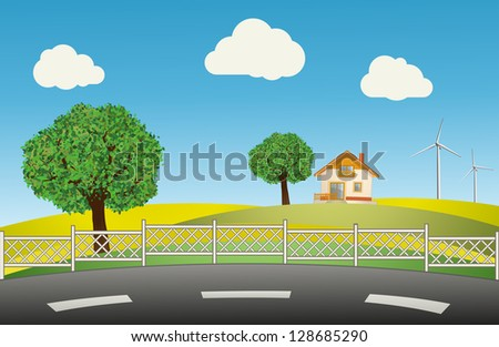 Trees, house and wind turbine on a meadow against a blue sky. Vector illustration - stock vector