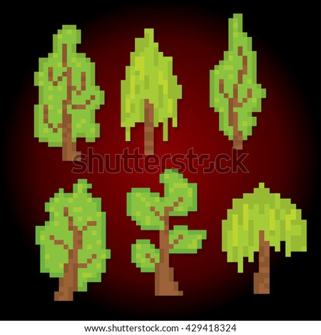 Trees icons set. Pixel art. Old school computer graphic style. Games elements.