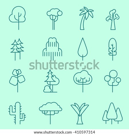 Trees icons, thin line, flat design - stock vector