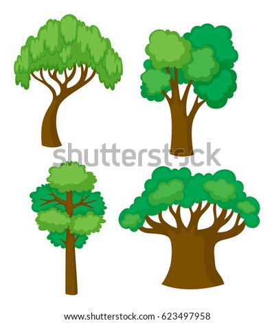 Trees in four different shapes illustration